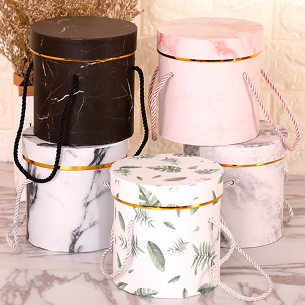 Beautiful Paper Box Round Flower Paper Box With Lid Hug Bucket Florist Gift Packaging Box Home Decor Bouquet Wedding Rose Party