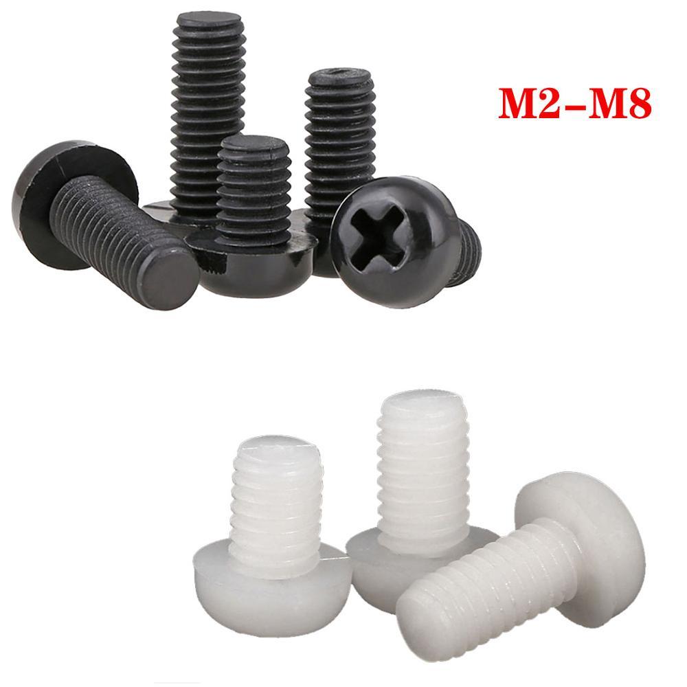 M2//M2.5//M3 NYLON WHITE PAN HEAD PHILLIPS SCREWS ROUND HEAD PHILLIPS BOLTS