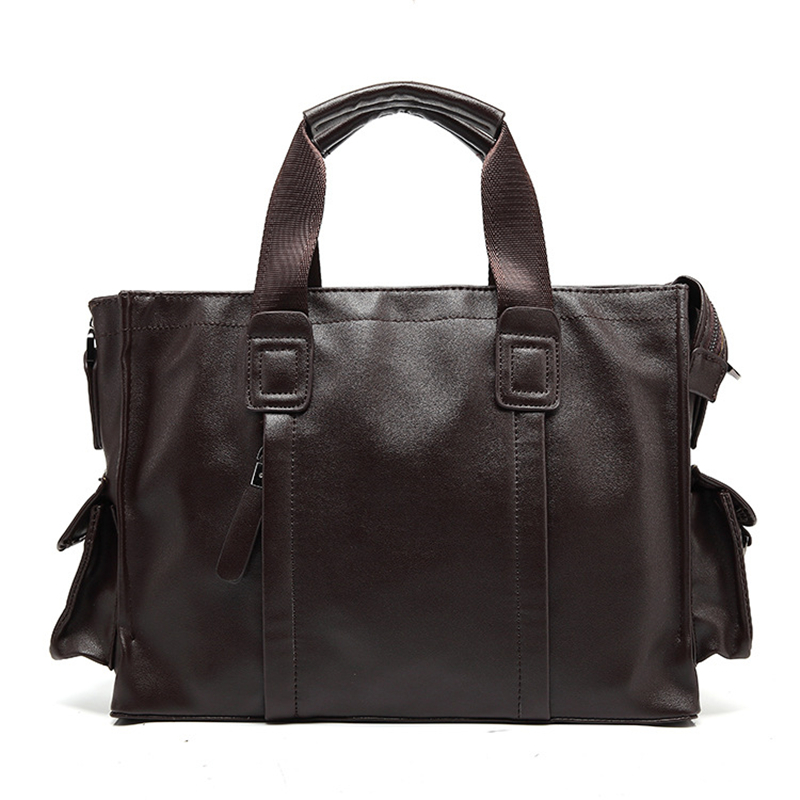 Crazy Horse Black Brown Bussines Bag Men Leather Bags Briefcases Work With Compartments Male Casual Solid Attache Case 0016