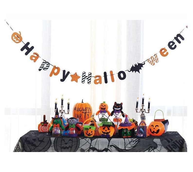 100 шт Хэллоуин Pull украшение в виде флага Тыква призрак голова паук бумага Pull флаг декор для Хэллоуина, вечеринки поставки