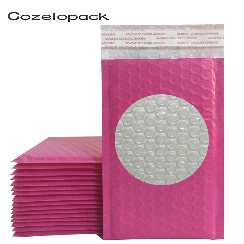 10PCS #0000 10x20cm Pink Poly Bubble Mailer Padded Envelopes 4x8inch Self Seal Mailing Bag Bubble Envelope Shipping Envelopes