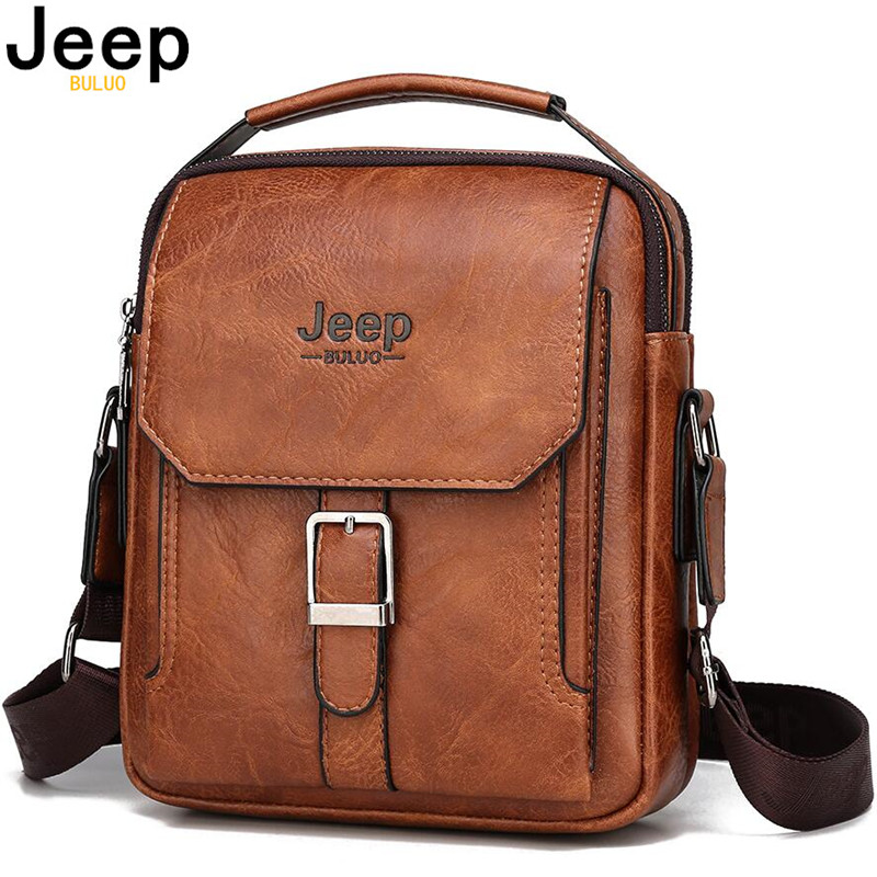 JEEP BULUO 2020 New Men Fashion Messenger Shoulder Bag Big Brand Man's Tote Hand Bag Crossbody Business Casual Daypacks Leather