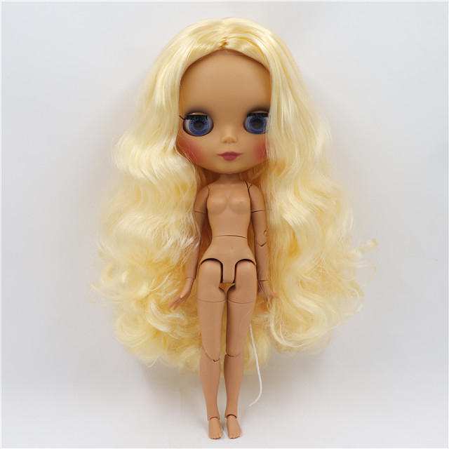 Neo Blythe Doll with Yellow Hair, Dark Skin, Matte Face & Jointed Body 1