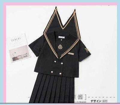 Однобортная школьная форма Jk; милый повседневный костюм моряка для девочек; Jpanese Kawaii; изысканный элегантный костюм с вышивкой и бантом - Цвет: short short