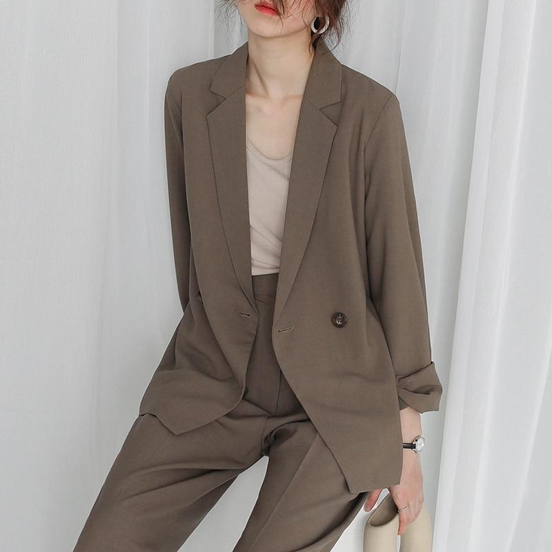 Loose Vintage Ladies Blazer Khaki Simple Casual Suit Jacket Blazzer Mujer Korean High Street Women Blazer Spring Autumn MM60NXZ