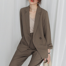 Loose Vintage Ladies Blazer Khaki Simple Casual Suit Jacket Blazzer Mujer Korean High Street Women Blazer Spring Autumn MM60NXZ