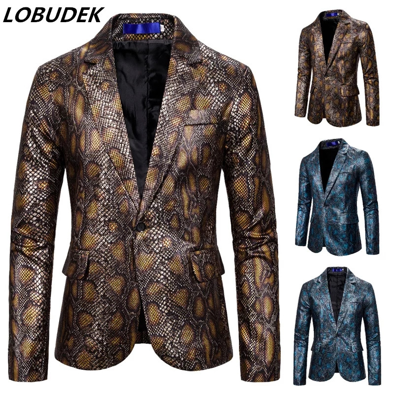 Tide Men Snake Skin Pattern Blazer Hot Stamping Python Print Suit Blazers Men's Large Size Nightclub Host Singer Blazes S-2XL