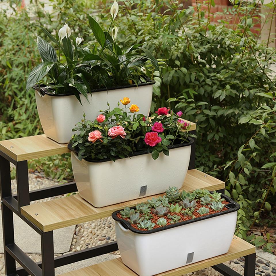 1 Pcs 47x22x21 Cm Pot Bunga Plastik Besar Persegi Panjang Diri Penyiraman Kebun Modern Pot Bunga Dekorasi Rumah Tipe Besar Bunga Pot Planters Aliexpress