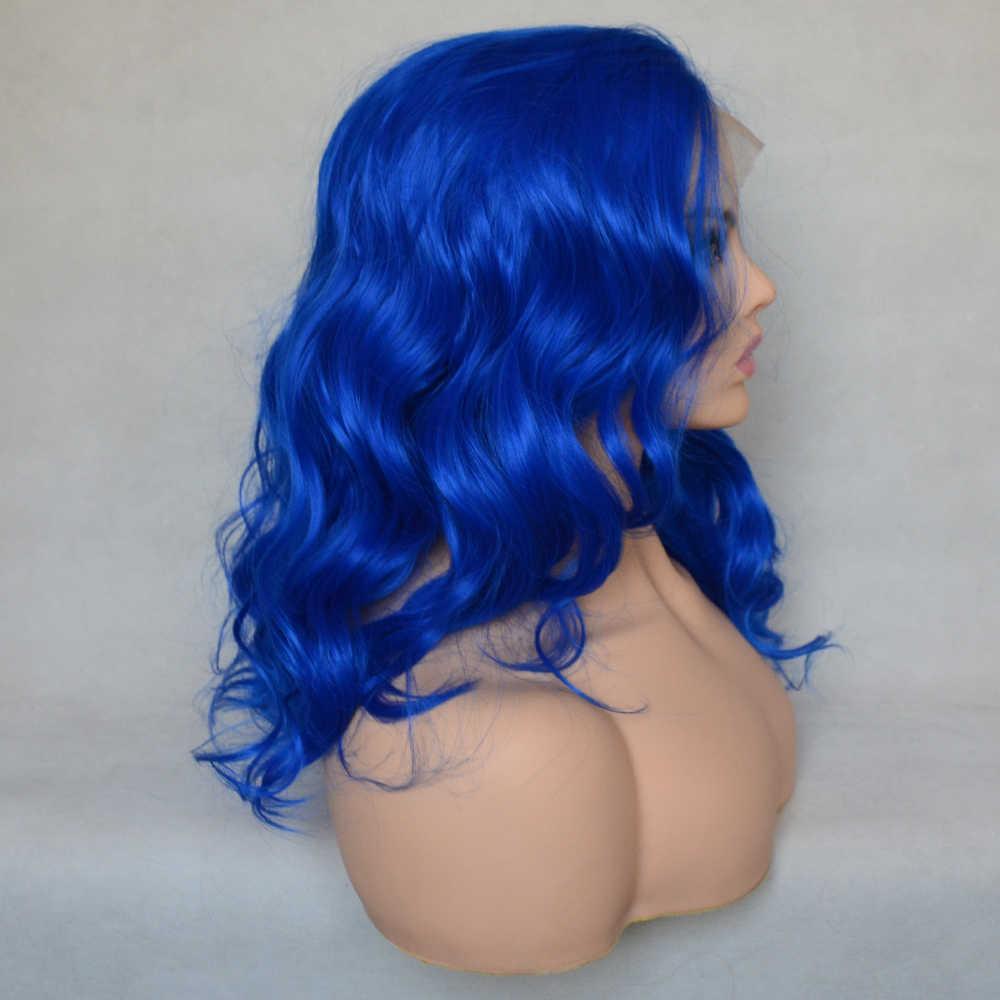 Vogue rainha safira azul solto encaracolado peruca dianteira do laço sintético alta densidade cosplay para mulher