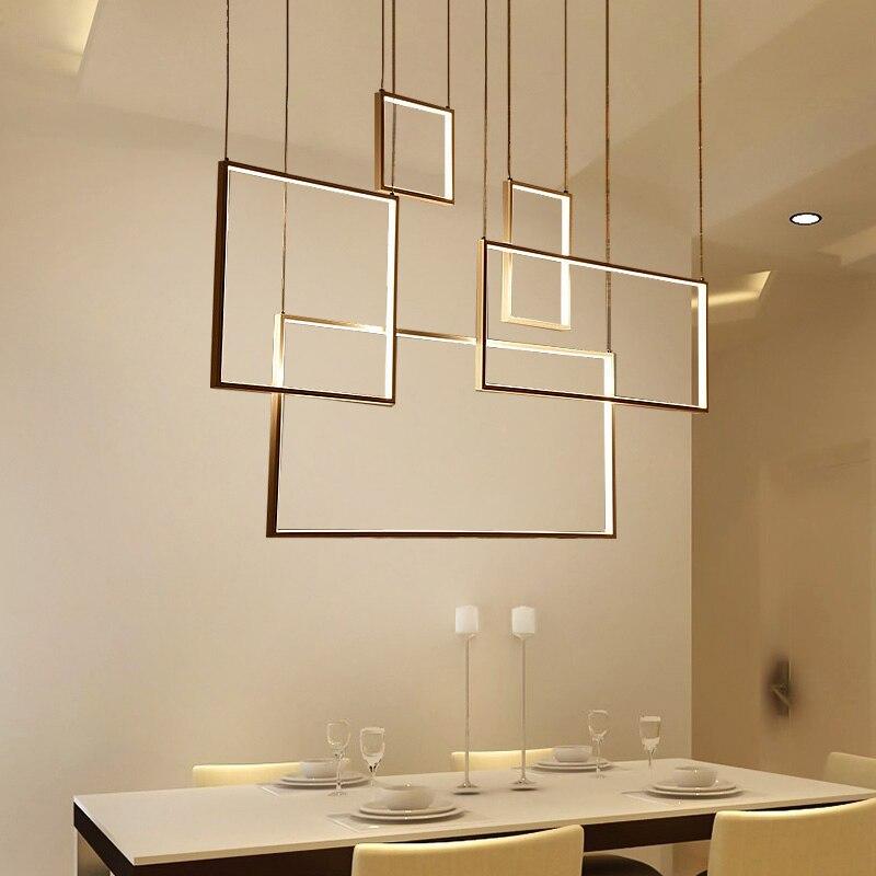 Современный квадратный светодиодный подвесной светильник с регулируемой яркостью, акриловый потолочный светильник для столовой, гостиной...