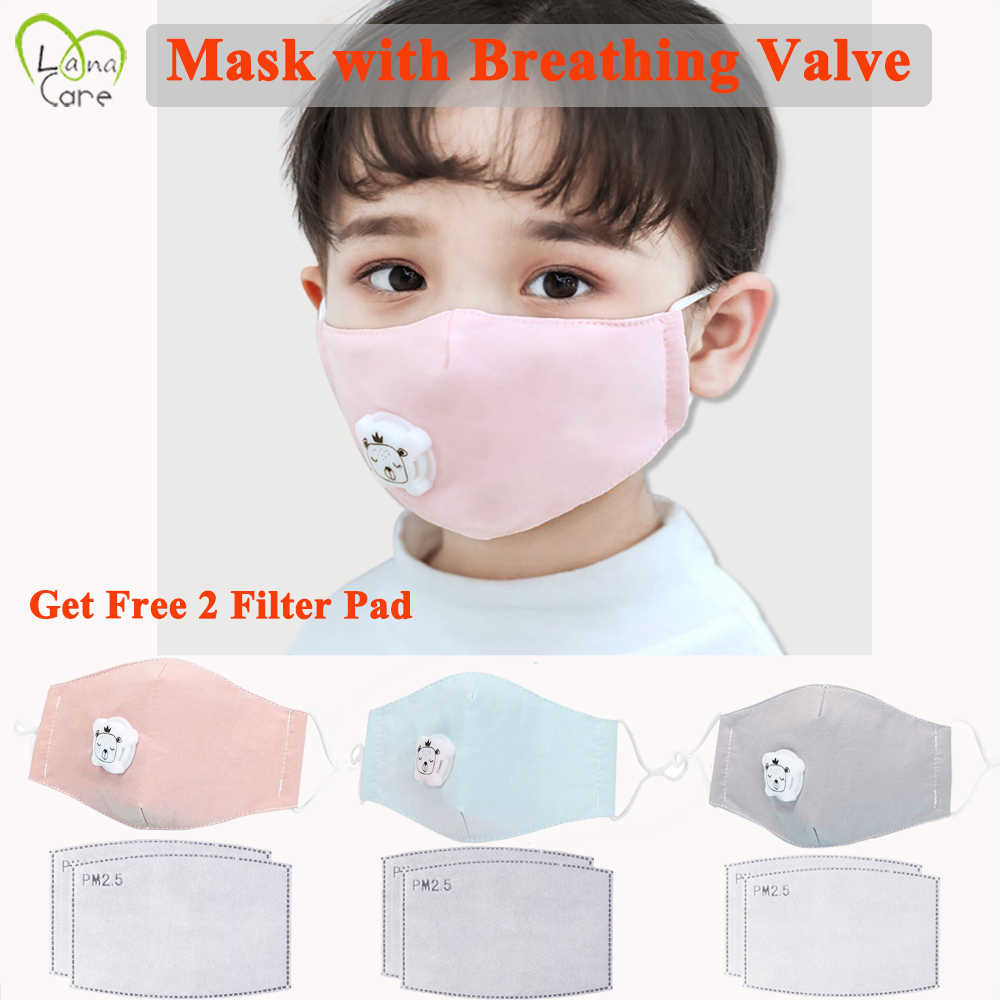 For 2-8 Years Old Children Mask + 2 Filter Pad Cartoon Thicken Smog Mask Warm Dustproof Mask Fits Boys Girls Kids Mask