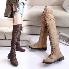 Women autumn over the knee high boots low heels shoes woman lace up Boots  PU leather a92 big size