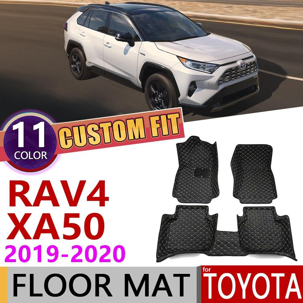 Custom Leather Car Floor Mats For Toyota RAV4 RAV 4 XA50 2019~2020 XA 50 5Seats Auto Waterprool Foot Pad Carpet Accessories
