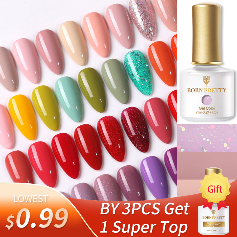 BORN PRETT UV Gel Polish 7ml 88 Colored Gel Nail Polishes Soak Off UV Gel Glitter Semi-Permanant Varnish For Hybrids 2021