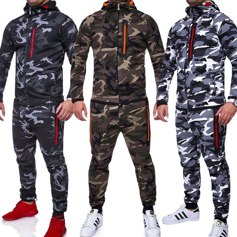 ZOGAA Military Men Sets Tracksuit 2019 Camouflage Jacket Camo Print Tracksuit Matching Sportswear Hoodies Coat Pants Sweatsuit