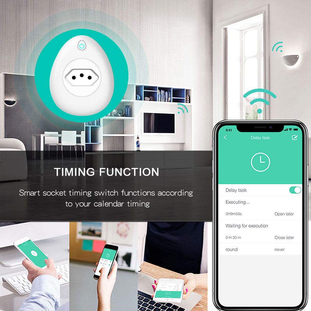 WIFI Smart Brazil Plug Power Monitor 15A BR Socket Wireless Outlet Voice Control Work with Alexa Google home with USB smart life