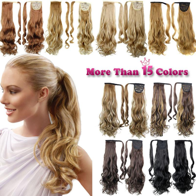 Long Straight Clip In Fake Hair Ponytail Wig With Hairpins Pony Tail Hair Extension Heat Resistant Synthetic Hair Temperature