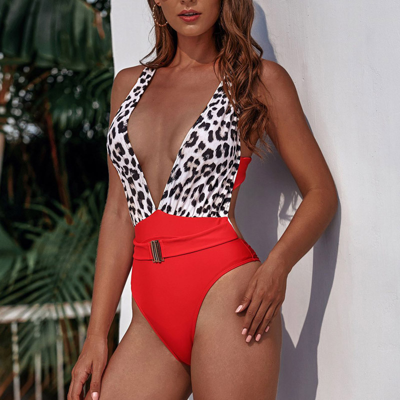 2019 High Waist Swimwear Women One piece Swimsuit Female Bandage Monokini Backless Bathing Suit V-Neck Swimming Suit For Women