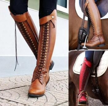 Womens Stylish Leather Equestrian Riding Boots  1
