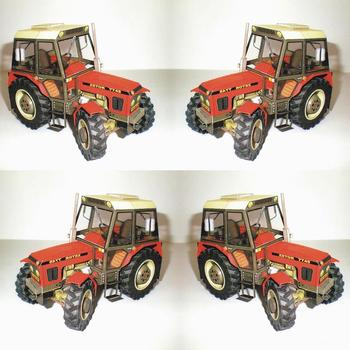1:32 DIY Czech Zetor 7745-7211 Tractor Card Model Building Agricultural Toy Educational Car Manual Machinery Sets Model N4F5 image