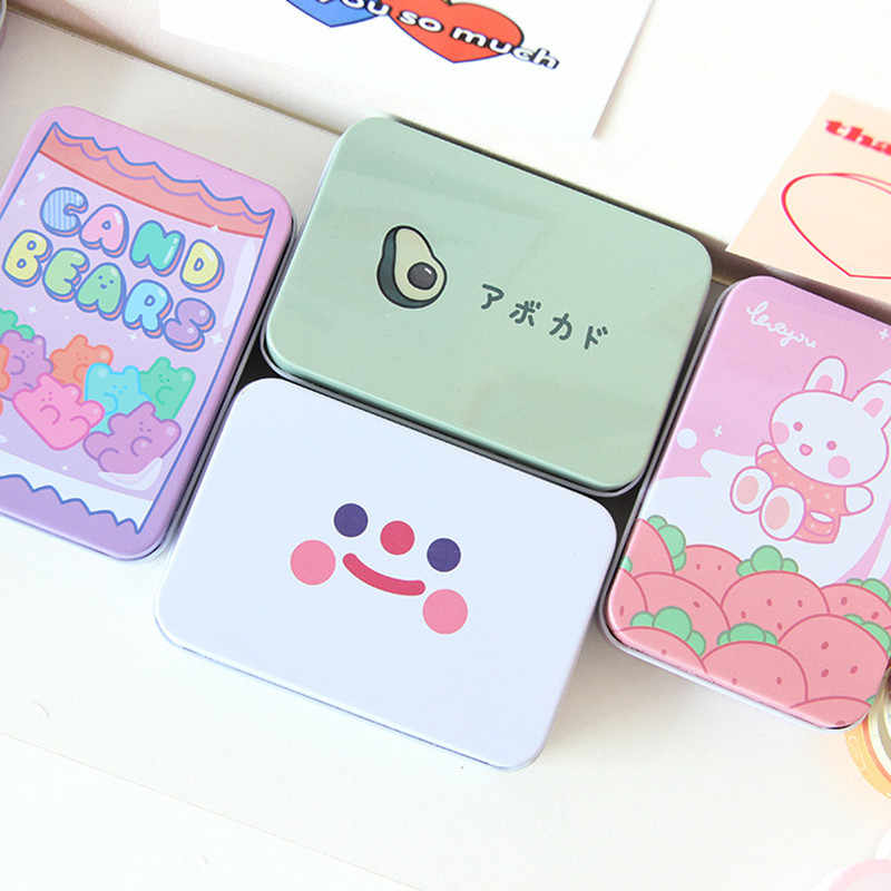 1Pc Cute Korea Alpukat Kelinci Beruang Bunga Logam Square Washi Tape Perhiasan Penyimpanan Kotak Stationery Meja Organizer Pemegang Kartu
