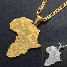 Anniyo серебро Цвет/золото Цвет Карта Африки с кулон в форме флага форме плетённого кольца в африканском стиле карты ювелирные изделия для муж...