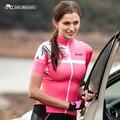 Santic Frauen Radfahren Short Jersey Pro Fit Damen Straße MTB Bike Fahrrad Jersey Kurzarm Sommer Asiatische Größe S XXL L8C02130-in Rad-Trikots aus Sport und Unterhaltung bei