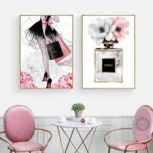 Moda chica Paris Perfume flor tacones altos carteles nórdicos y impresiones pared arte lienzo pintura cuadros sala de estar
