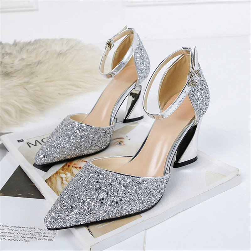 2020 New Sandalias femeninas 8 cm high heels pointed Sequins sandals sexy high heels women's summer shoes female sandals mujer