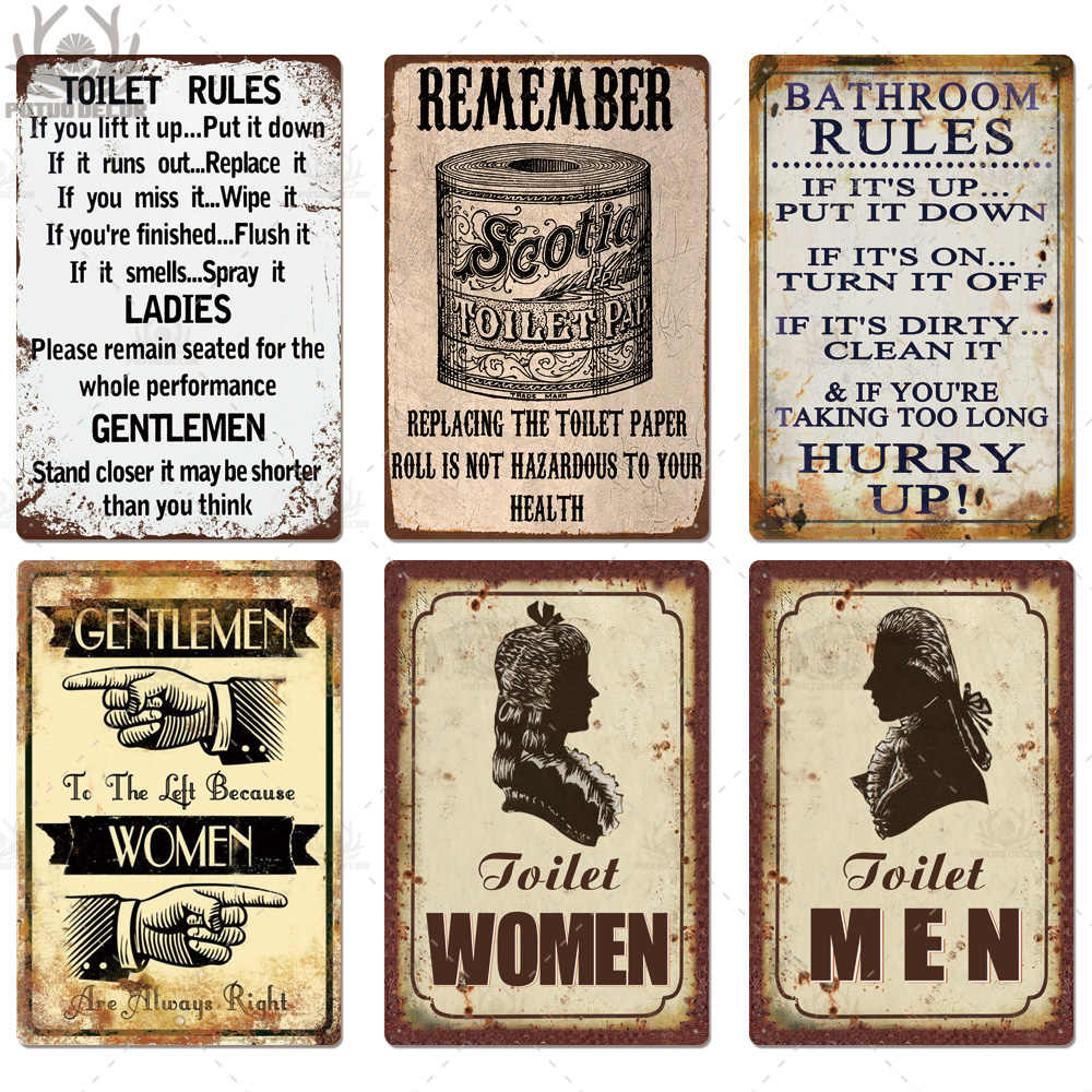 Toilet Sign Plaque Metal Vintage Bathroom Metal Sign Tin Sign Wall Decor For Toilet Bathroom Restroom Plaques Signs Aliexpress