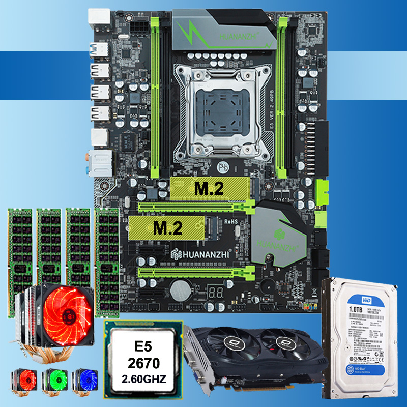 HOT! HUANAN X79 mainboard CPU <font><b>Xeon</b></font> E5 <font><b>2670</b></font> C2 with 6 heatpipes cooler RAM 16G(4*4G) DDR3 RECC 1TB 3.5' SATA HDD GTX750Ti 2GD5 VC image