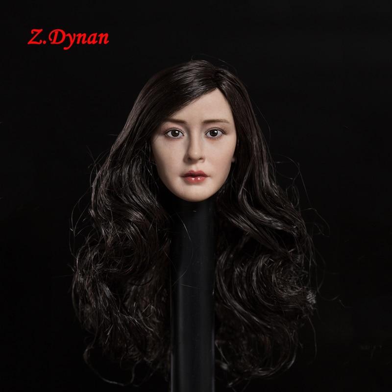 "1//6 Pale Skin Curly Sliver Hair Female Head Sculpt Toy Model F 12/"" Figure Body"