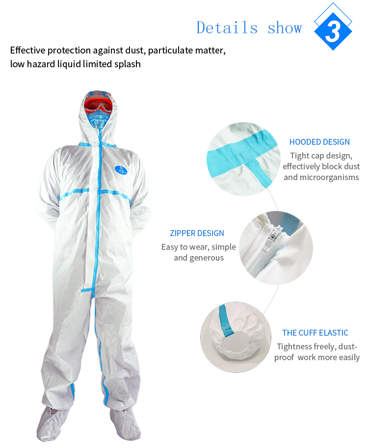 Coverall Disposable Anti Epidemic and Antibacterial Isolation Suit for Prevention from Viruses and Bacteria 10