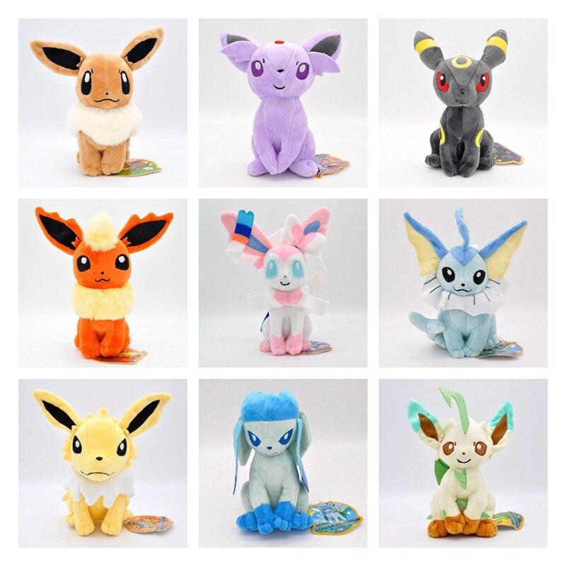 New Arrival TAKARA TOMY Pokemon Cartoon Elf Anime Dolls 20cm Plush Stuffed Toys Peluche Eevee Christmas Gifts for Kids