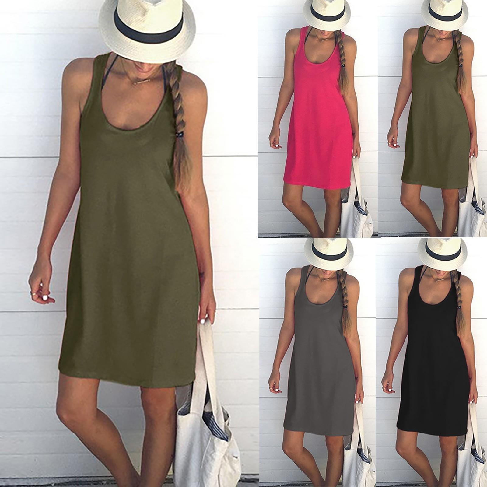 Summer Slim Dress Women's Fashion Loose Solid Color Sleeveless Low Collar Casual Vest Dress Elegant Solid Dresses Женское Платье