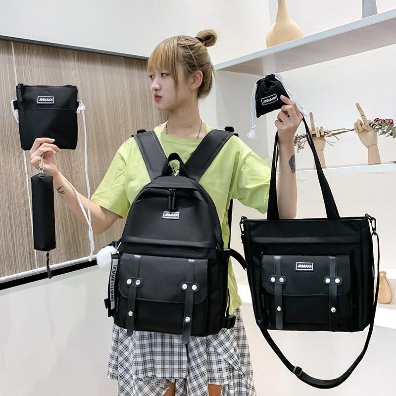 5 pcs sets canvas Schoolbags For Teenage Girls Women Backpacks Laptop keychain School Bags Travel Bagpack Mochila Escolar