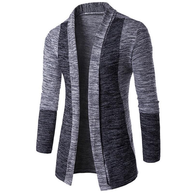 MJARTORIA Men Patchwork Sweater Fashion Pattern Design Korean Style Long Sleeve Male Cardigan Sweater Slim Fit Casual Sweater