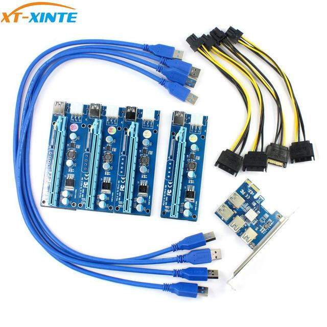 PCIe 1 to 4 PCI Express 16X slots Riser Card PCI E 1X to External 4 PCI e slot Adapter Port Multiplier Minning Card Add in Card