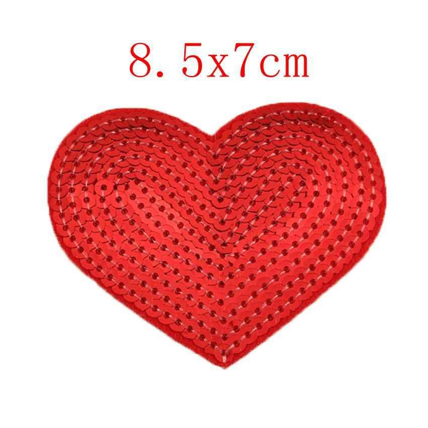 2 PC Glitter Cinta Merah Kasih Bintang Bordiran Pakaian Bordir Patch Stiker Kain Besi Pada Patch Kerajinan Jahit Perbaikan Bordir