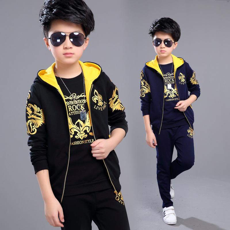 Sports Suit for Boys 3PCS/Set Children's Suit Cotton Hooded Vest + T-shirts + Pants Boys Kids Sportswear Tracksuit for Girls