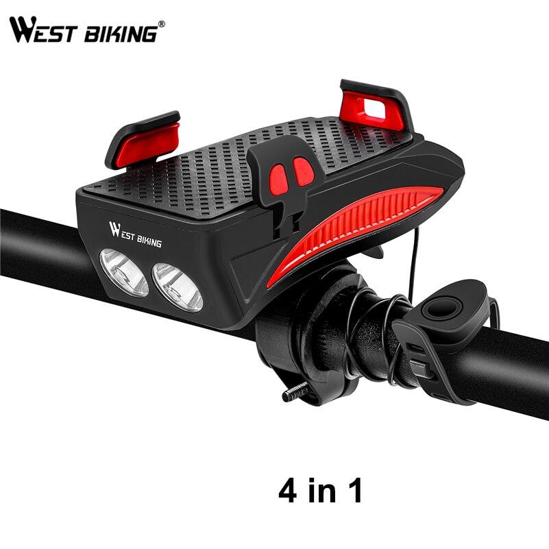 WEST BIKING Bike Light 2000mAh/4000mAh Battery Power Bank Phone Holder 130DB Speaker Bell 4 in 1 MTB Cycling Bicycle Lights|Bicycle Light| |  - title=