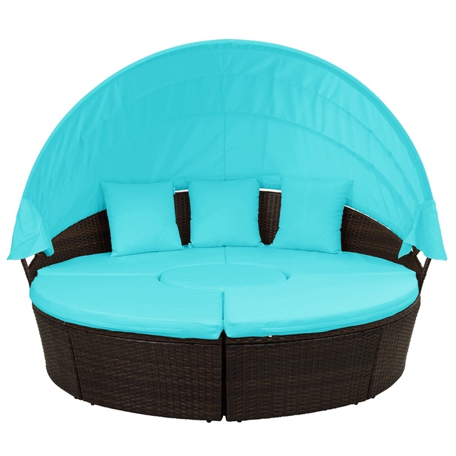 Round Outdoor Sectional Sofa Daybed With Retractable Canopy  3