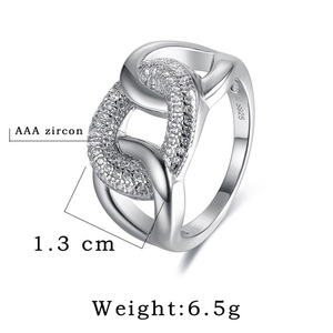 Image 4 - Womens Fine Jewellery 925 Sterling Silver Rings Punk Thread Zircon Jewelry Big Wide Fashion Wedding Evening Party Ring