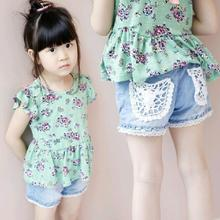 1Pc Baby Girl Summer Cotton Solid Color Shorts Jeans Kids Lace Pocket Fashion Casual Short Pants Outfits