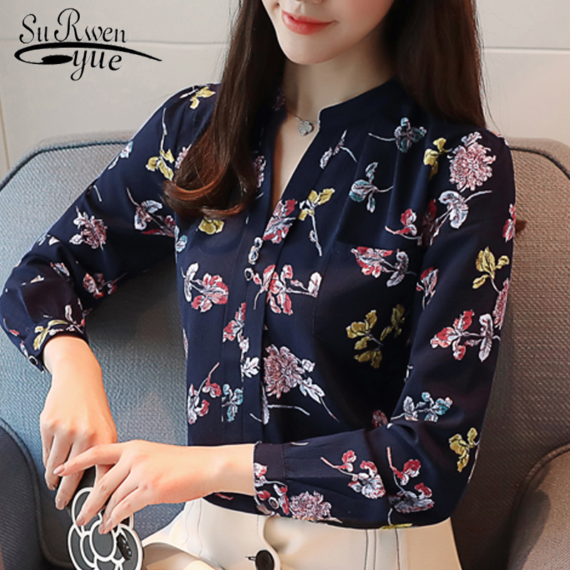New 2019 Fashion Women Blouse Shirt Long Sleeve OL Blouse Women Tops Print Chiffon Blouse Women Shirt Feminine Blouses Z0001 40