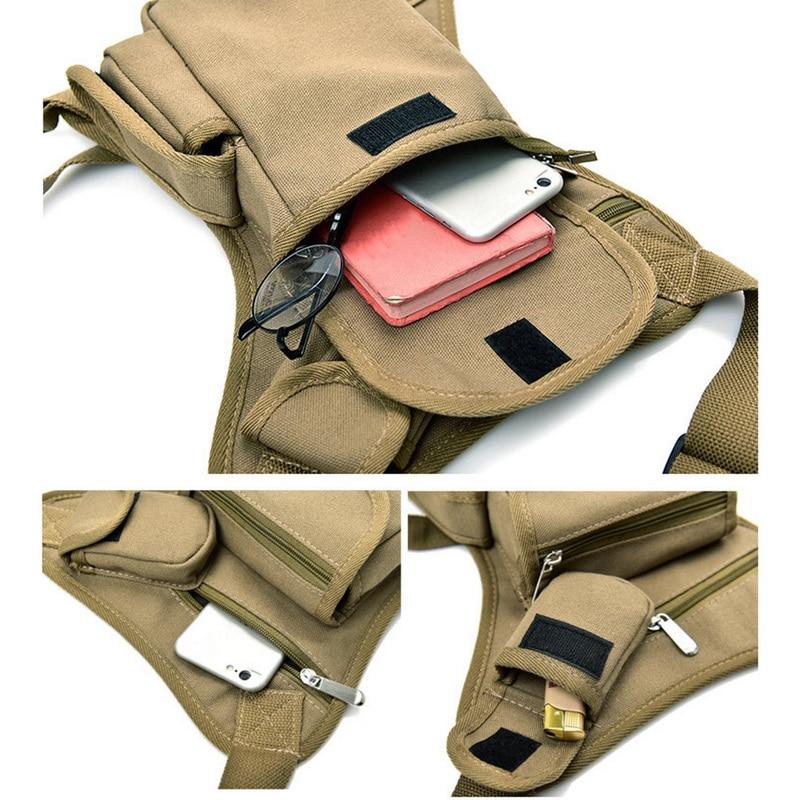 Men Military Tactical Travel Riding Motorcycle Bag Portable Waist Messenger Casual Canvas Drop Thigh Leg Multi- Pouch
