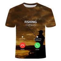 Fishing 3d T-shirt Men And Women Hip Hop Casual T-shirt 3d Print Fun Fish Harajuku Funny Fishing Rod O-neck Shirt T-shirt