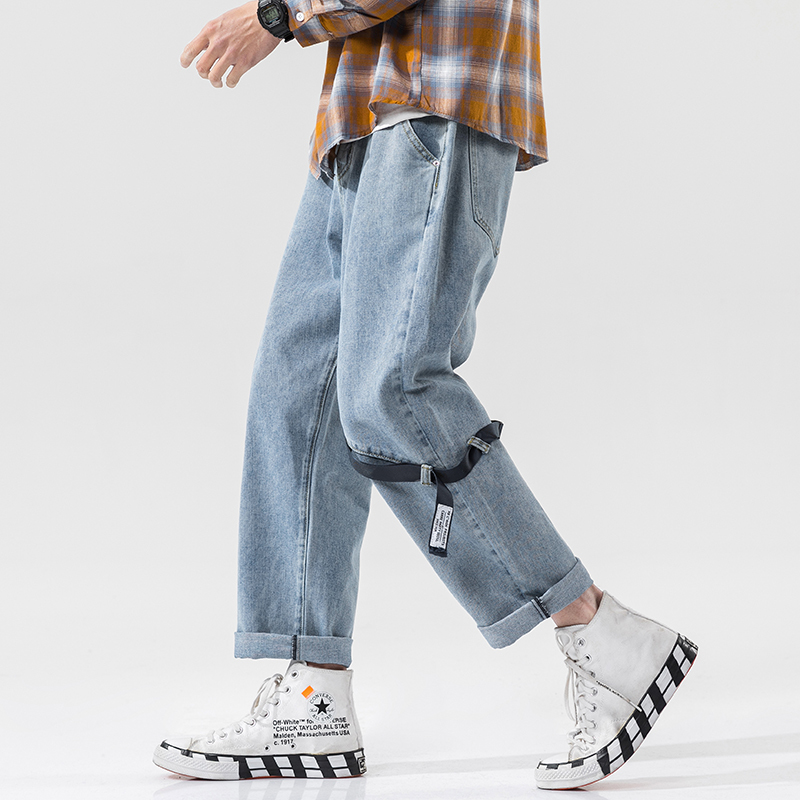 2020 New Men's Baggy Homme Casual Pants Classic Cargo Pocket Jeans Blue Color Leisure Buckle Bring Biker Denim Male Trousers