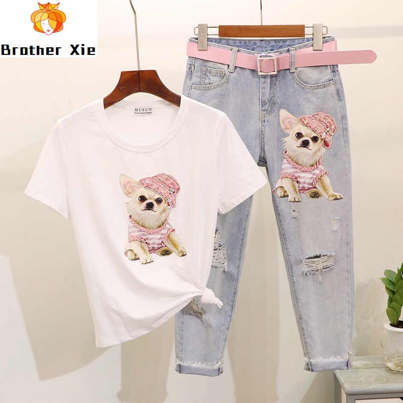 Ropa de verano para conjunto de dos piezas para mujeres abalorios lentejuela dibujos animados de manga corta con perros camiseta + agujeros Jeans Set niñas señora traje de 2 piezas