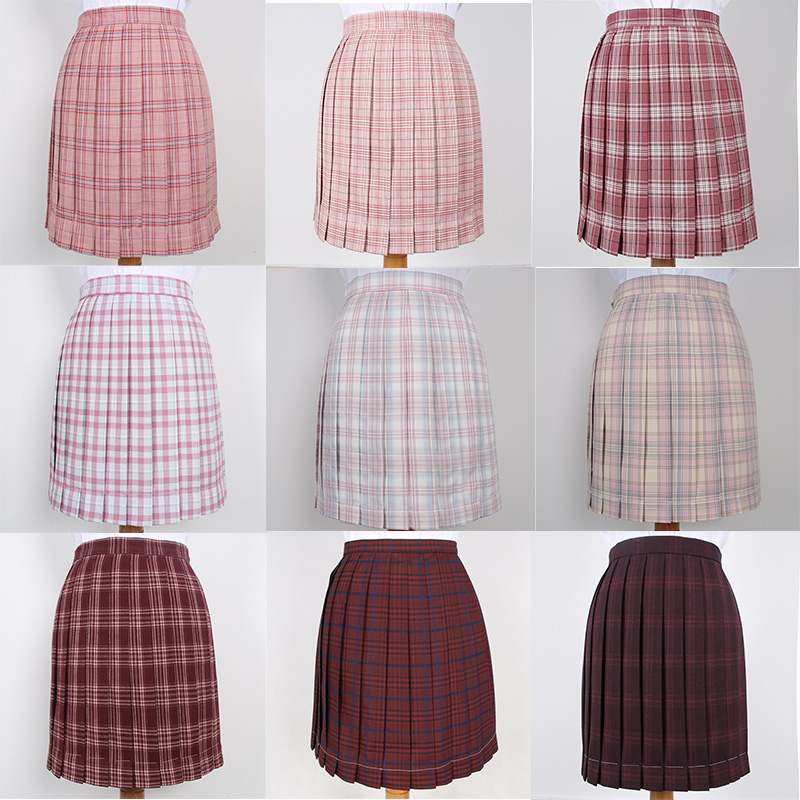 Japanese School Dresses For Girl Wine Red Roes Pink Plaid Pleated Skirt Women JK Uniform Skirt Student Anime Sailor Suit Skirt